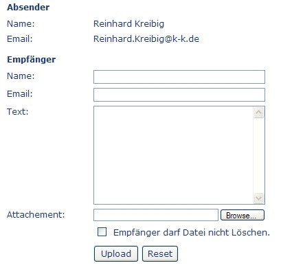 Upload Formular für den Dateiaustausch - CMS add.min ASP.Net  Enterprise Content Management System